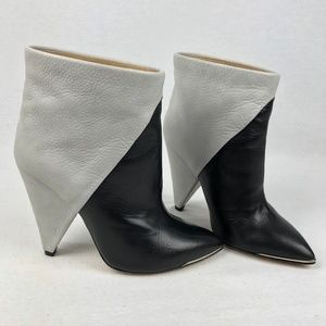 IRO 39 9 Black White Colorblock Bootie Heels